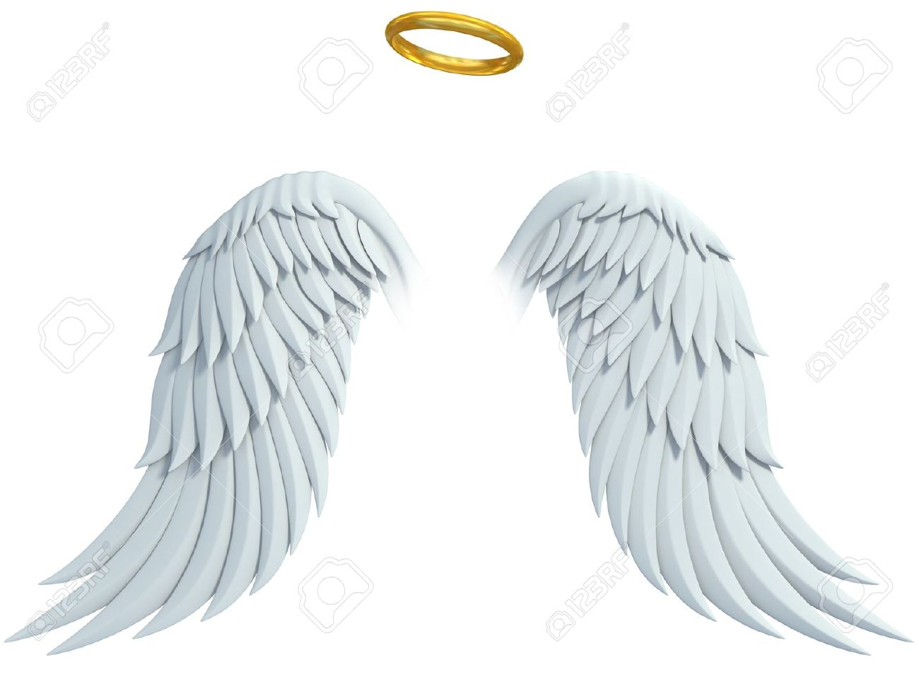 guardian angel: angel design elements - wings and golden halo isolated on the white background