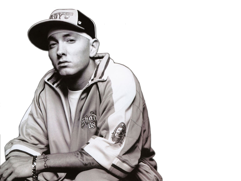 Eminem Wearing Cap And T-Shirt PNG