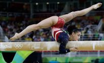 Lauren Hernandez of the U.S. performs on the balance beam during the artistic gymnastics womenu0026#39;s team