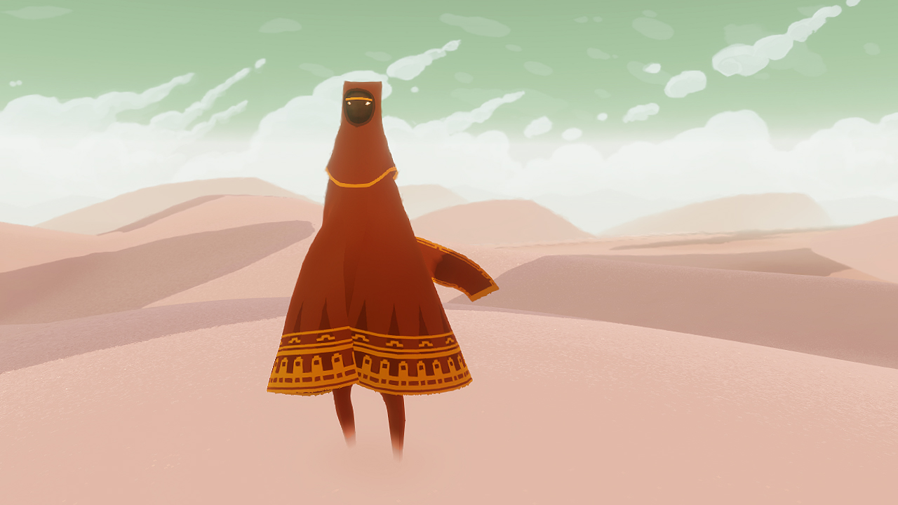 Who are you? And why are you in this desert? Journey never bothers to
