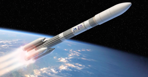 Artistu0026#39;s concept of the Ariane 6 rocket in its u0026quot;Ariane 64u0026quot; configuration with four