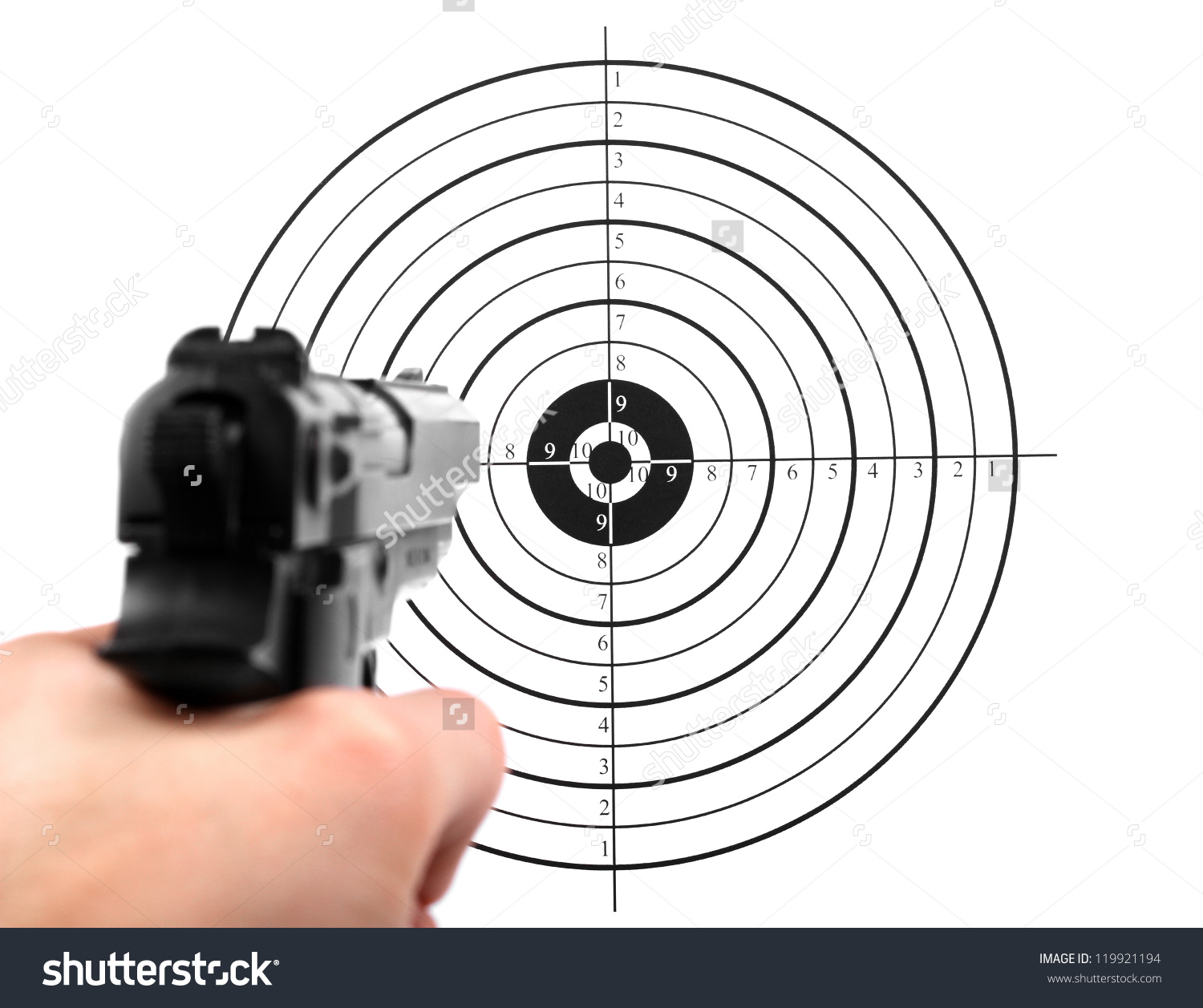 Hand With Gun Shooting Target Stock Photo 119921194