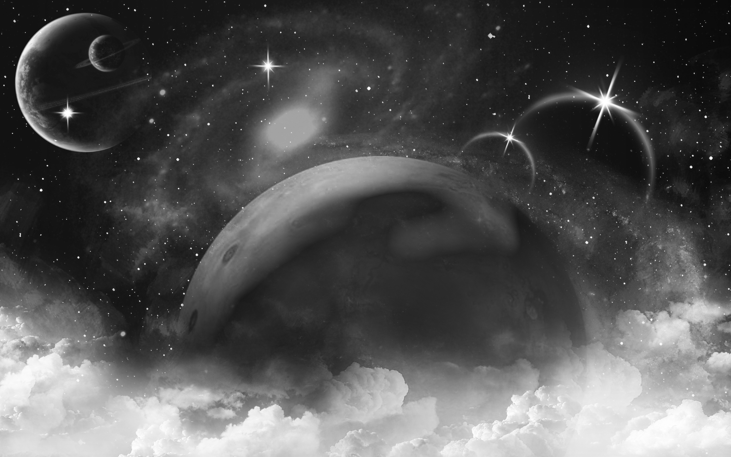Black And White Space Wallpaper