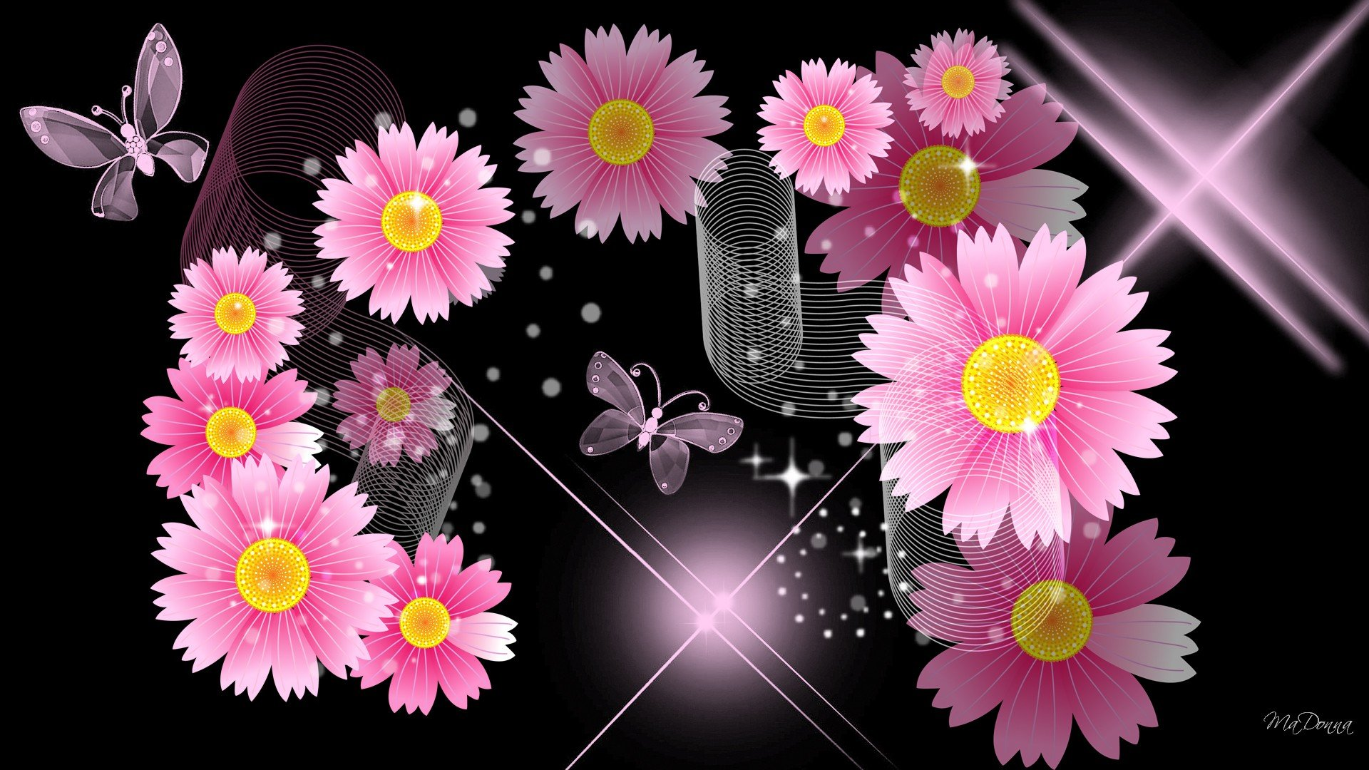 Black Wallpaper With Pink Flowers