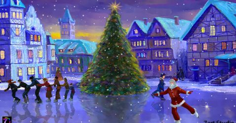 Christmas Ice Rink Live Wallpaper