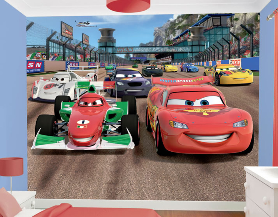 Download disney cars mural wallpaper gallery for Disney cars wallpaper mural