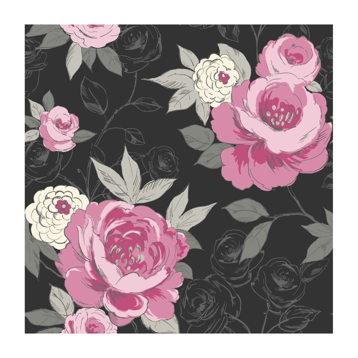 99 Black And Pink Floral Wallpaper Small Print Vintage Floral
