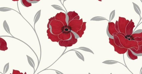 Red Flowered Wallpaper