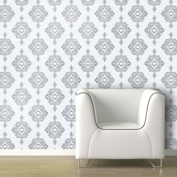 Removable Damask Wallpaper