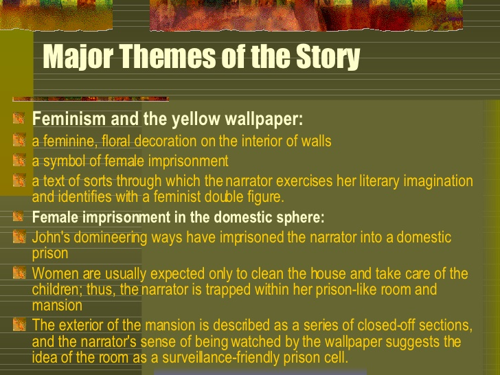 review of the yellow wallpaper Throughout the movie the yellow wall paper by john clive (2008) which is an adaptation from charlotte gilman's story the yellow wallpaper (1899), there are number of interpolations in the movie, the household has a gardener whose daughter rides a bicycle in her yellow dress, although this detail is not all mentioned in the original story.