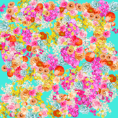 Turquoise Wallpaper With Pink Flowers