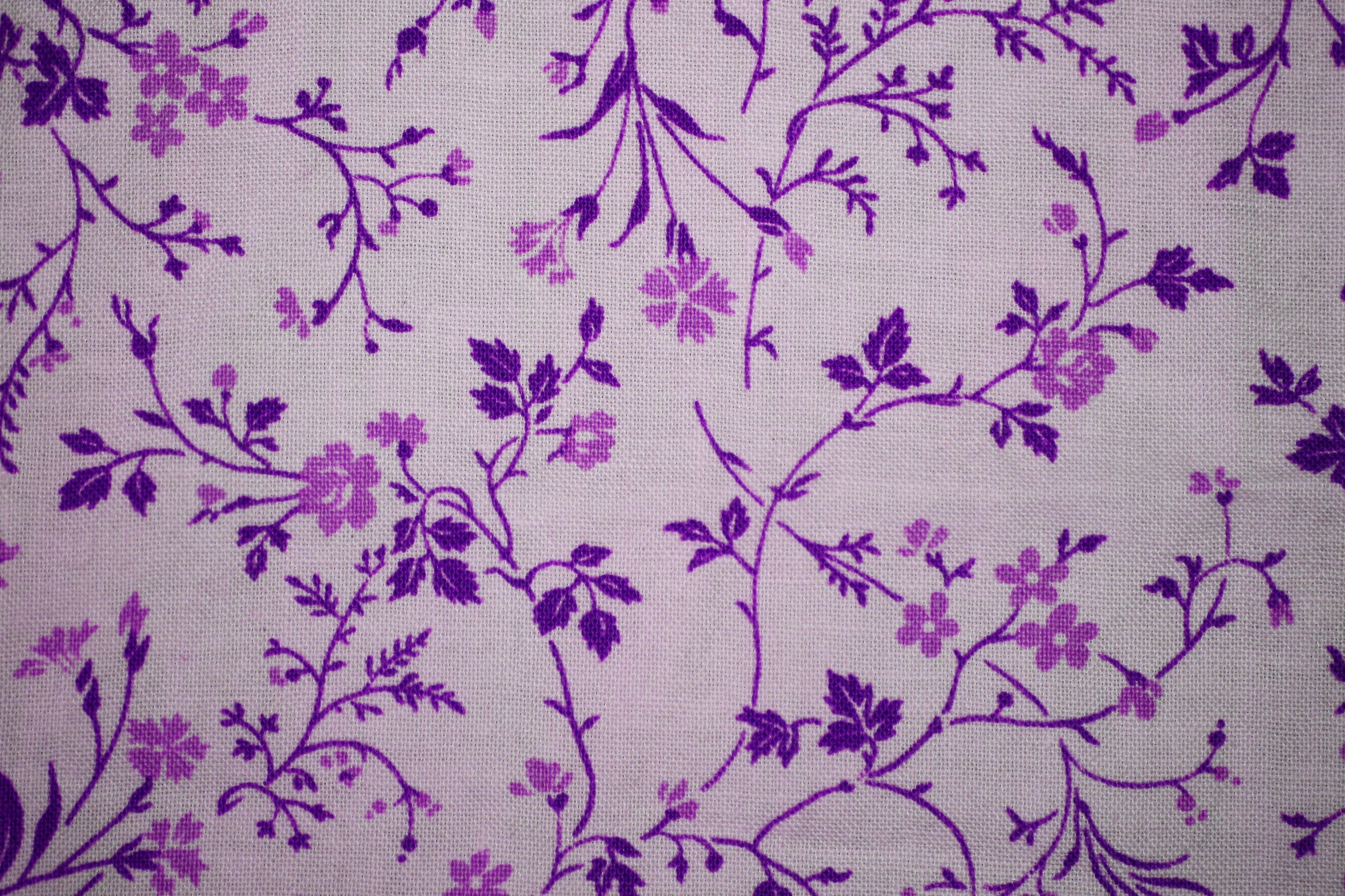 White Wallpaper With Purple Flowers