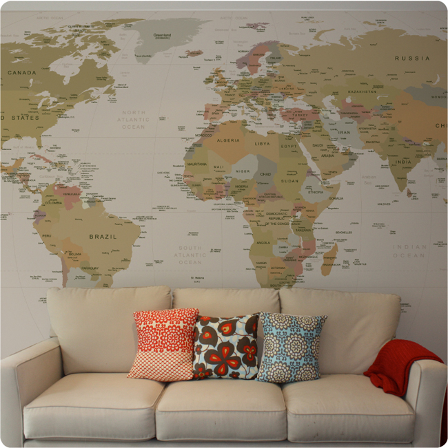 World Map Removable Wallpaper