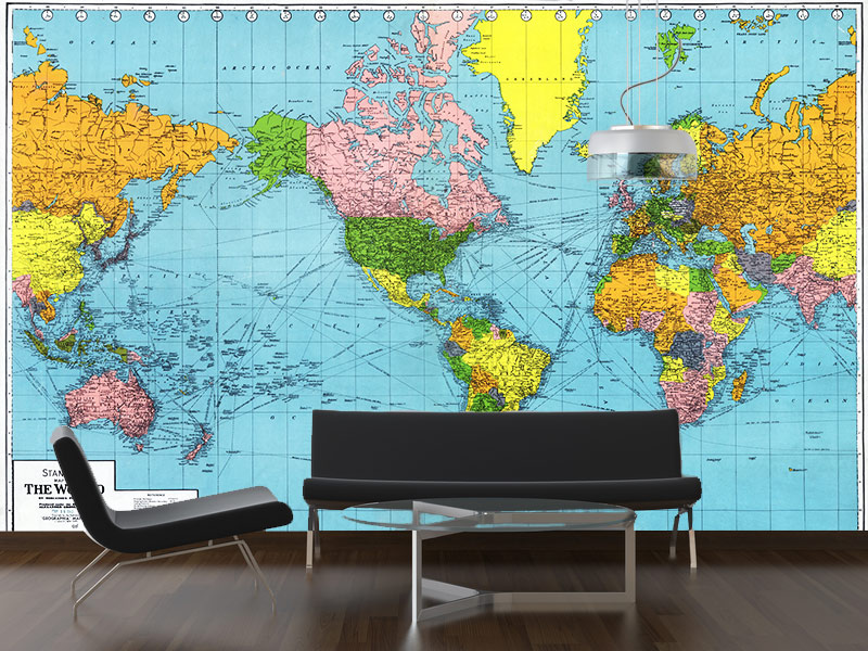 Download world map wallpaper mural gallery for Black and white world map wall mural