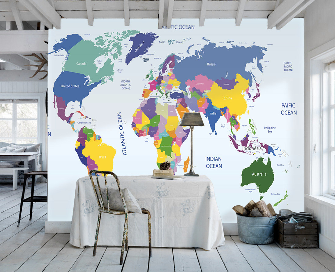 Download World Map Wallpaper Mural Gallery