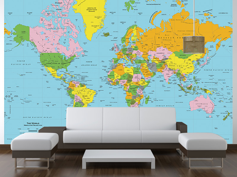 Download world map wallpaper mural gallery for Black and white world map mural