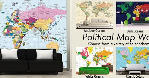 World Map Wallpaper Murals