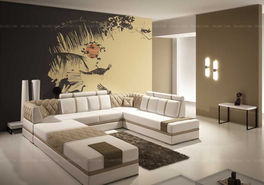 D House Wallpaper Design With 3d Room