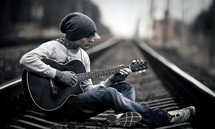 Alone With Guitar Wallpaper