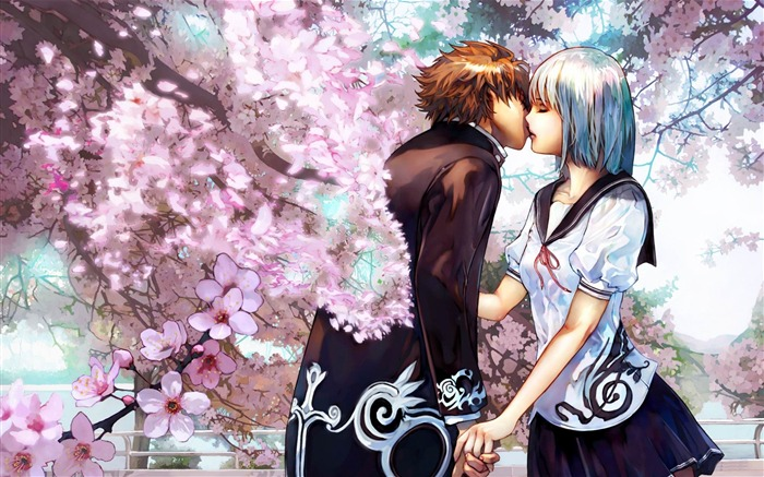 Animated Couple Kissing Wallpaper