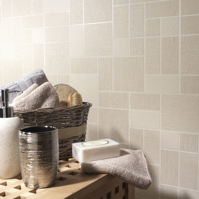 Bathroom Wallpaper Tile Effect