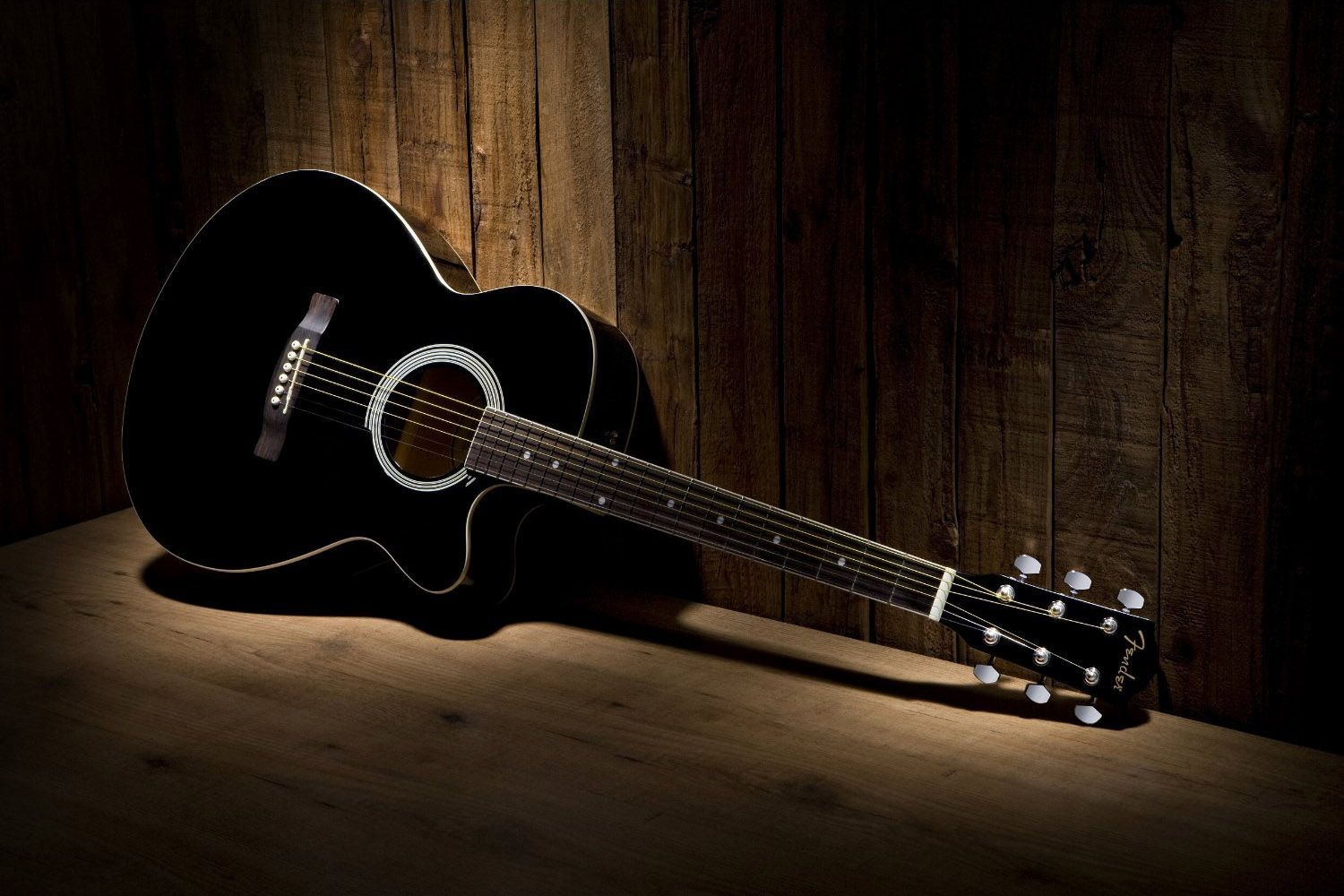 Black Acoustic Guitar Wallpaper