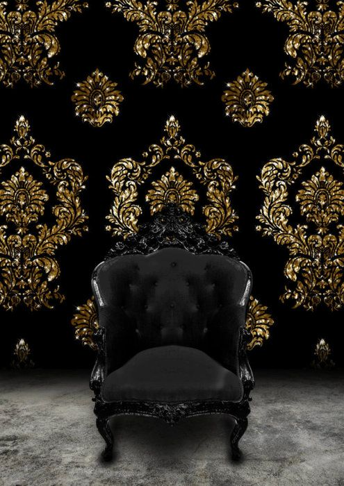 Black And Gold Velvet Wallpaper