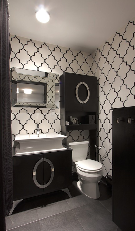 Black And Silver Bathroom Wallpaper