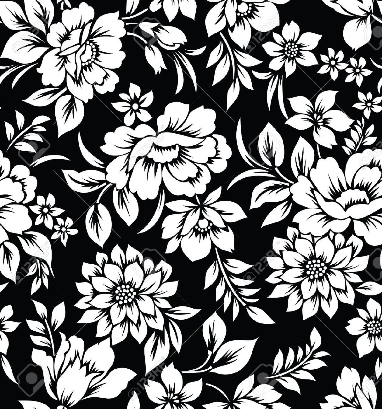 Download Black And White Floral Pattern Wallpaper Gallery