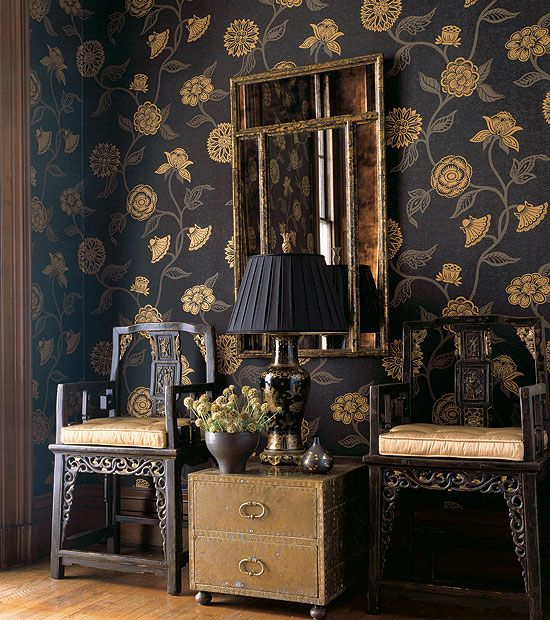 Black Chinoiserie Wallpaper