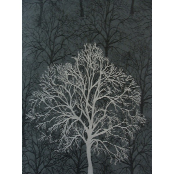 Black Wallpaper With Silver Trees