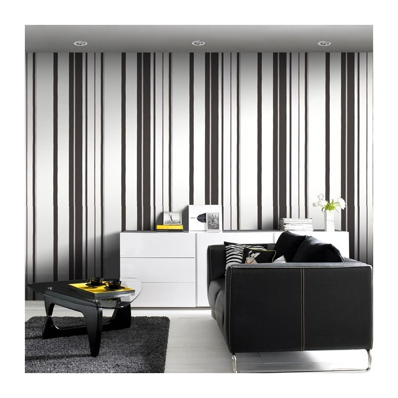 Black White Silver Striped Wallpaper