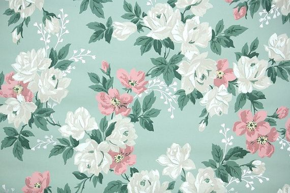 Blue And Green Floral Wallpaper