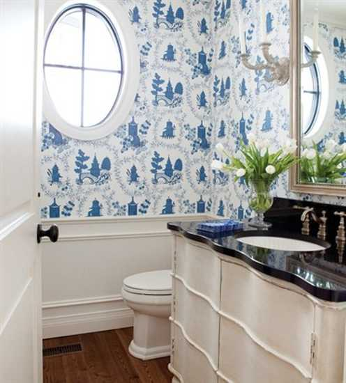 Blue Bathroom Wallpaper