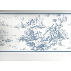 Blue Toile Wallpaper Border