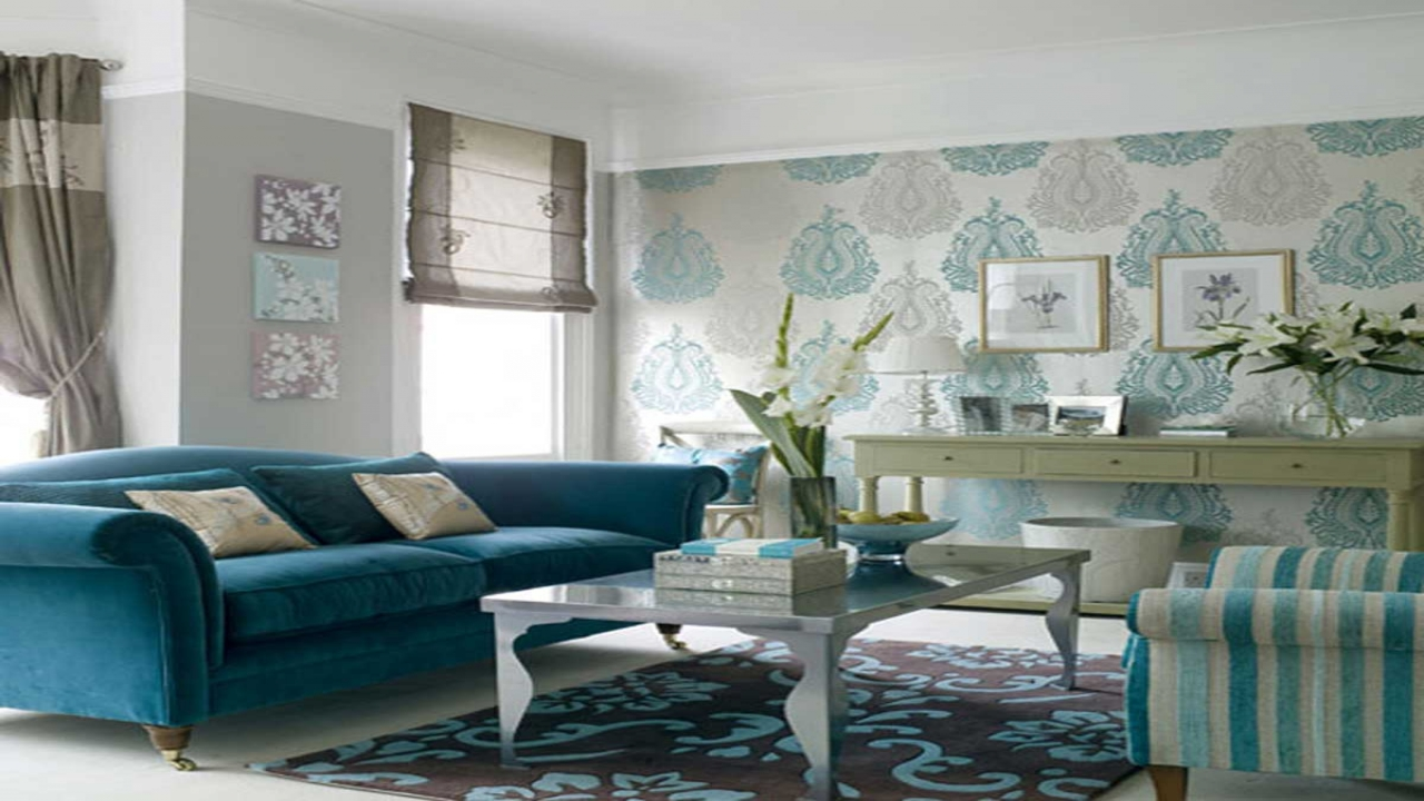 Download Blue Wallpaper Living Room Gallery