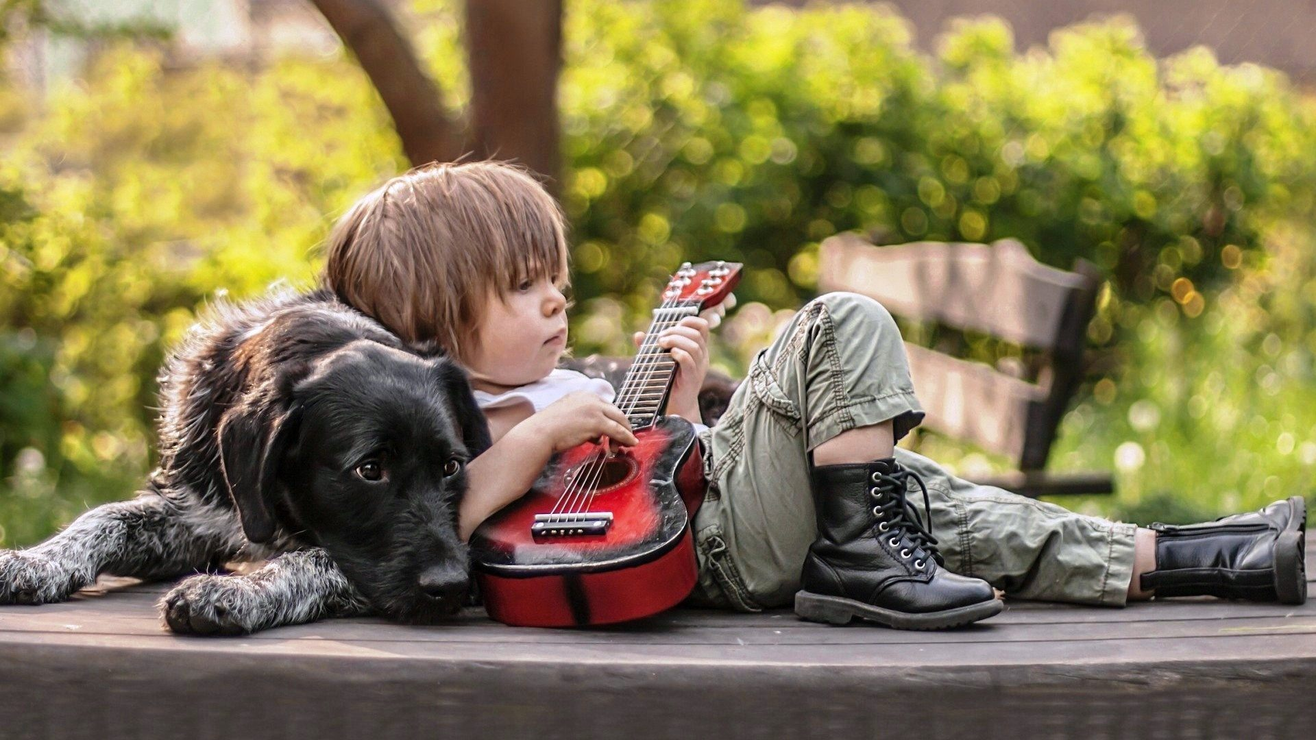 Boy With Guitar HD Wallpaper