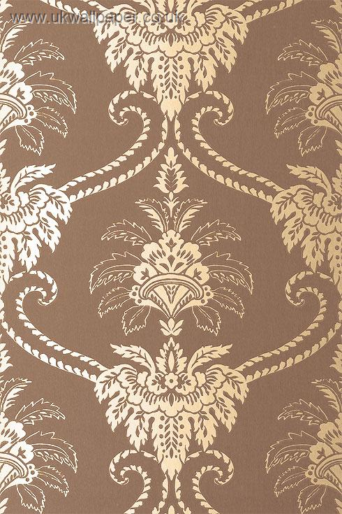 Brown And Cream Damask Wallpaper