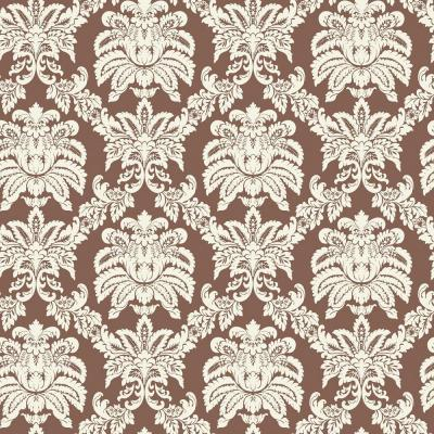 Brown And White Damask Wallpaper