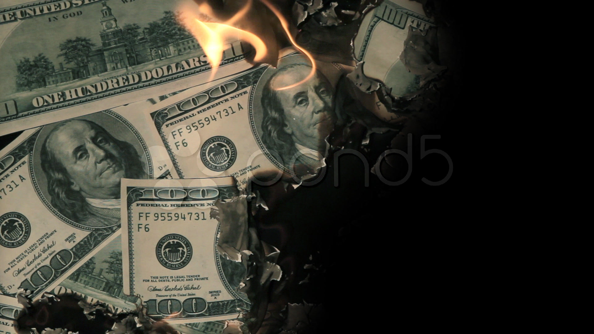 Burning Money Wallpaper
