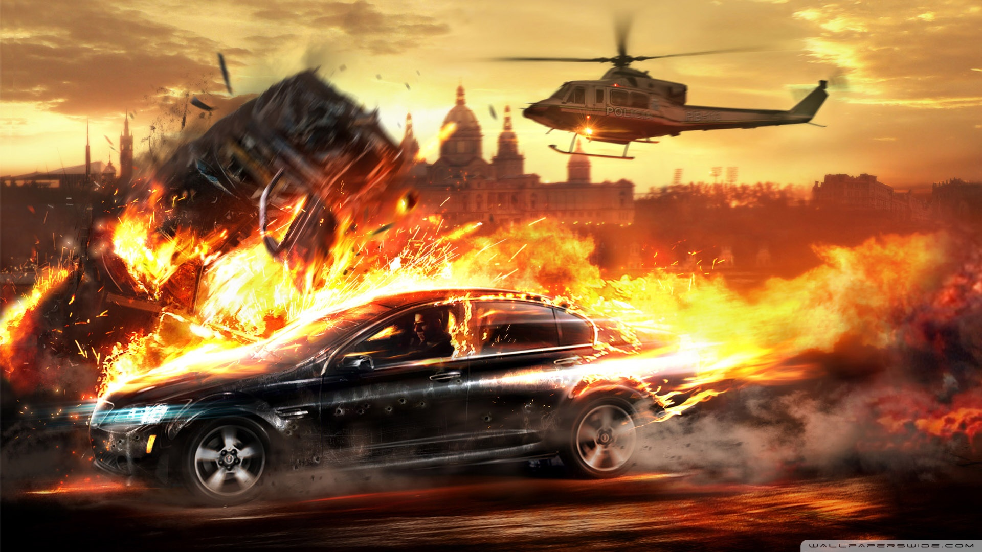 Car On Fire Wallpaper