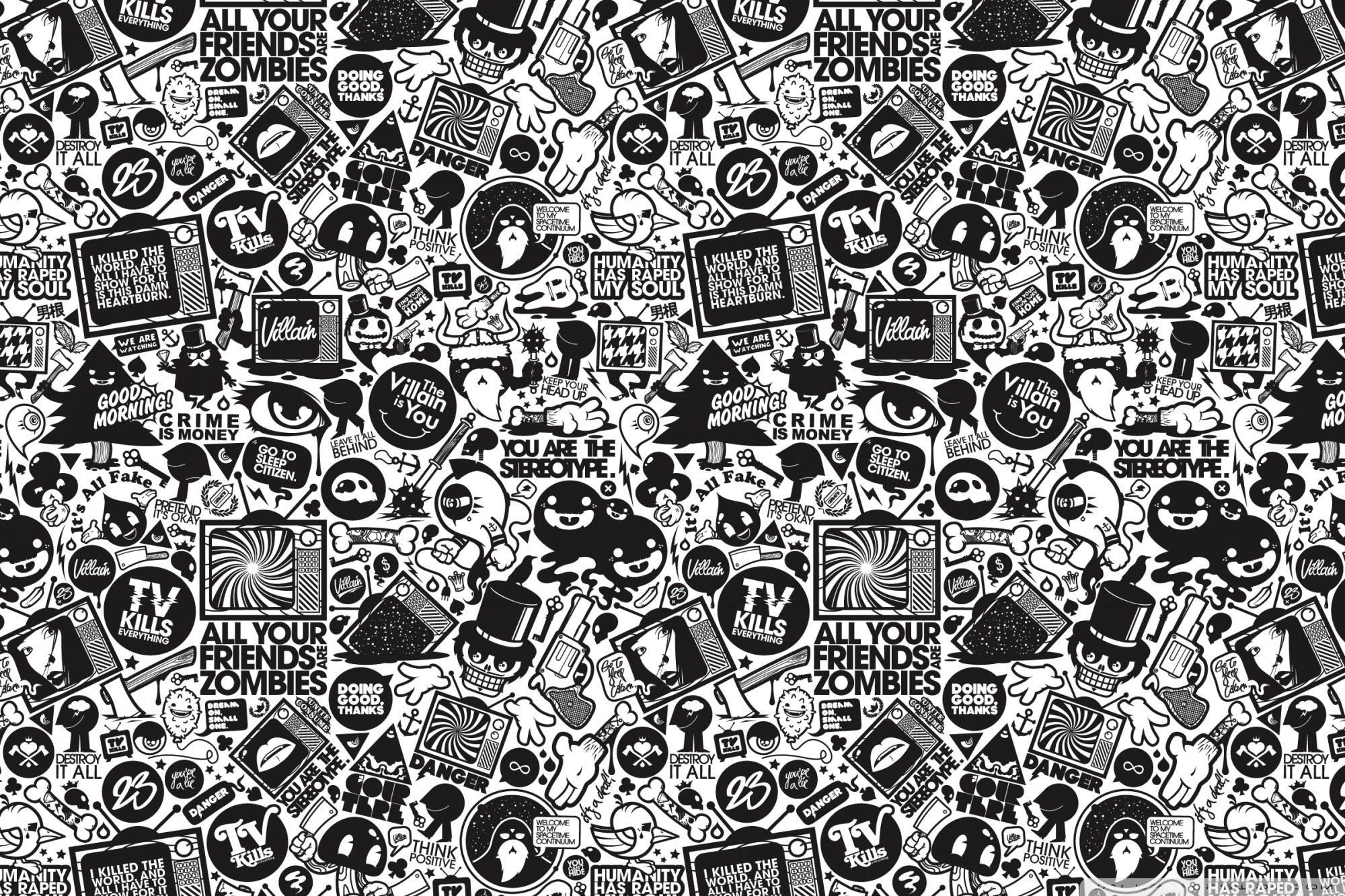 Cartoon Wallpaper Black And White
