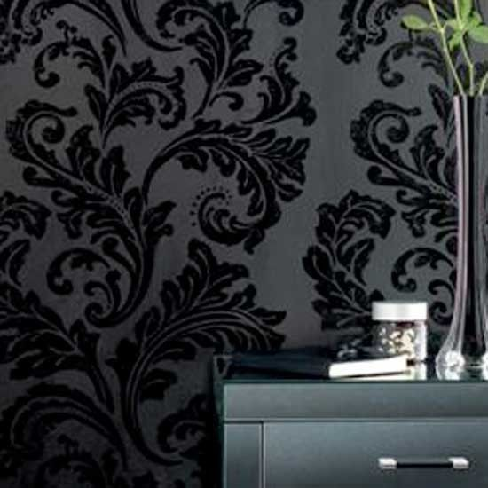 Download cheap damask wallpaper uk gallery for Cheap black wallpaper