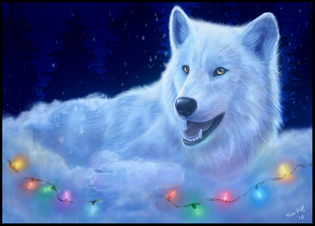 Christmas Wolf Wallpaper