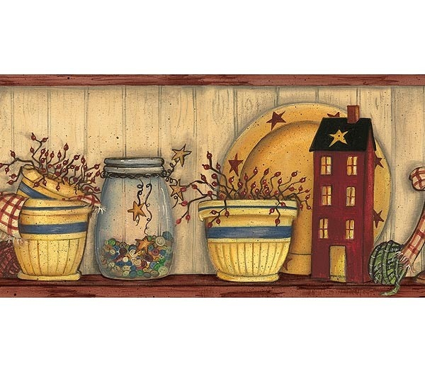 Kitchen Wall Clip Art: Download Country Primitive Wallpaper Border Gallery