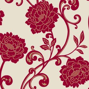 Cream And Pink Floral Wallpaper