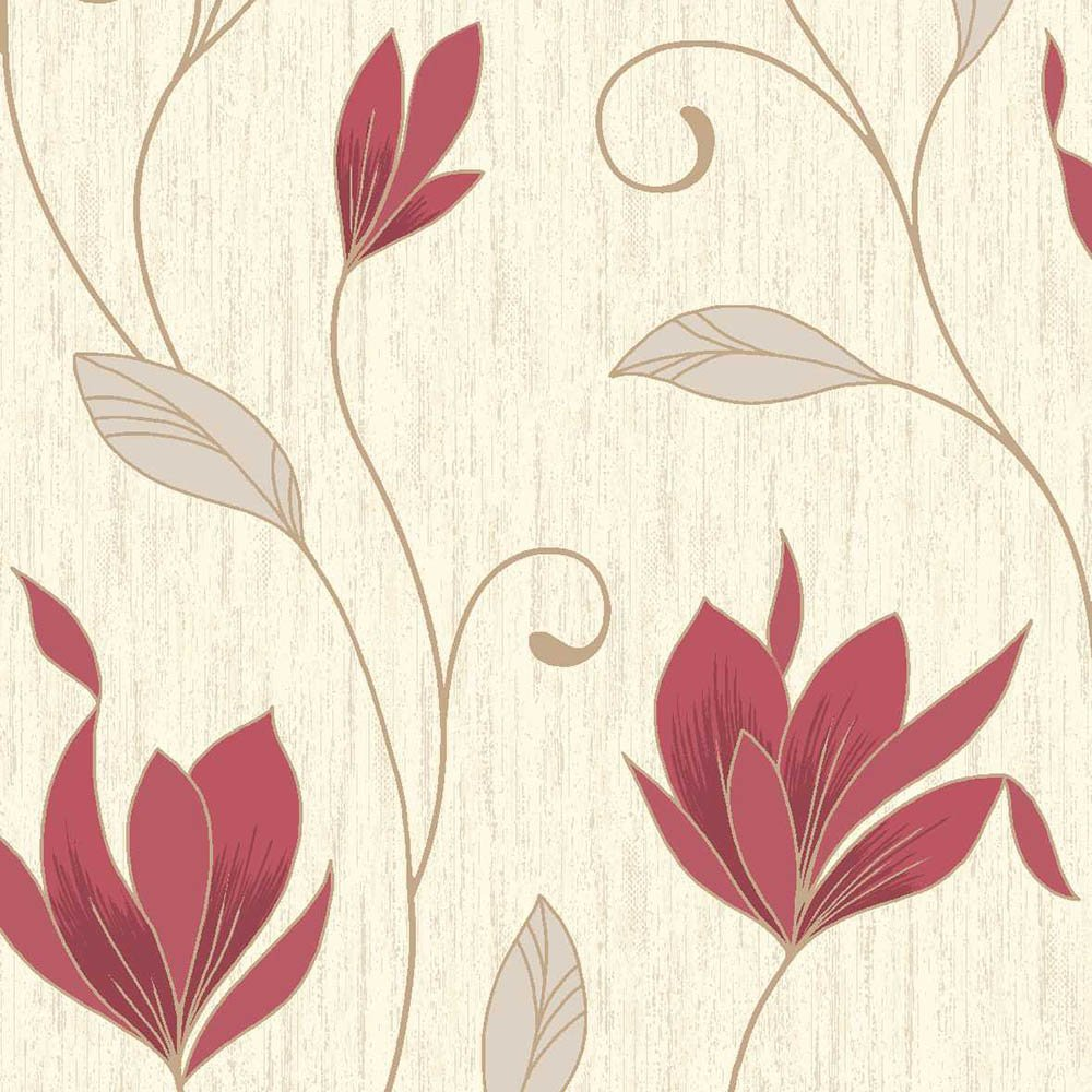 Cream And Red Floral Wallpaper