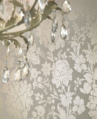 Cream And Silver Damask Wallpaper