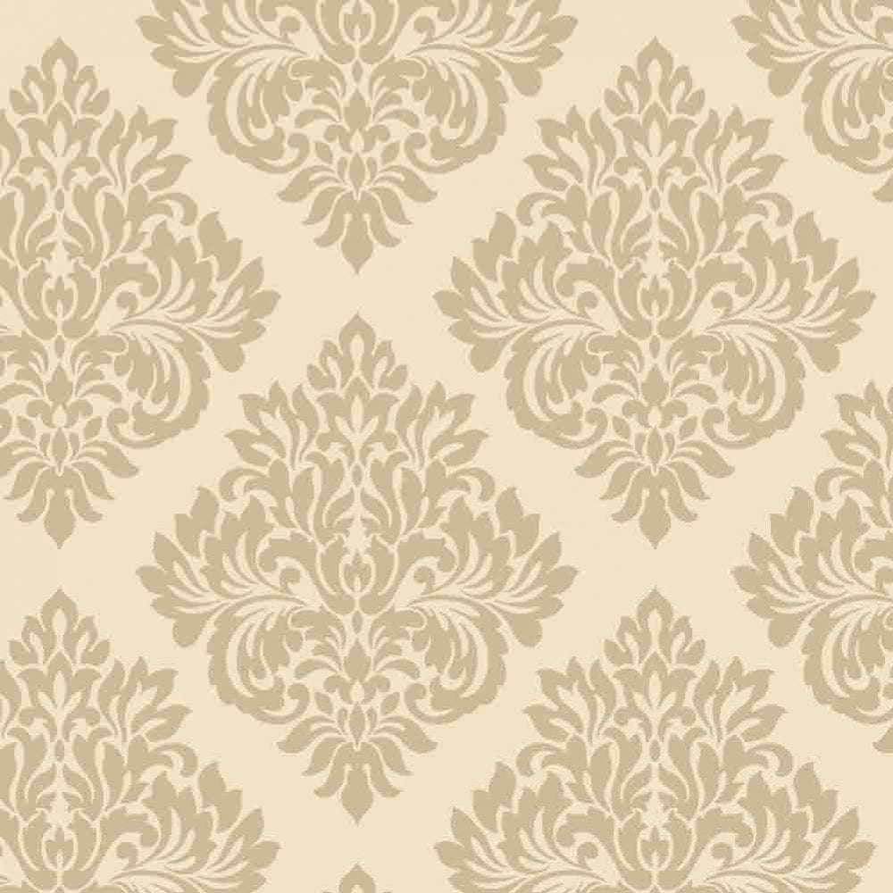 Cream Gold Damask Wallpaper