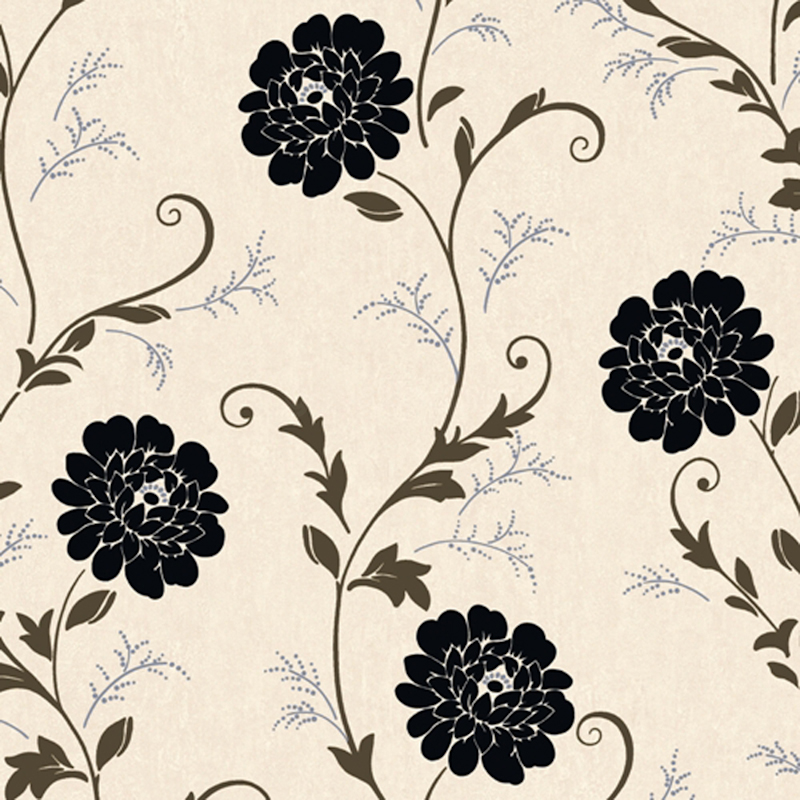 Cream Wallpaper With Black Flowers